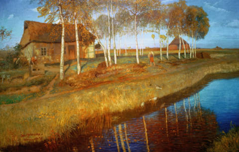 Fine Art Reproduction, individual art card: Otto Modersohn, Autumn Morning in the Moor