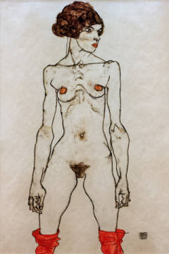 Standing Nude / 1914 of artist Egon Schiele as framed image