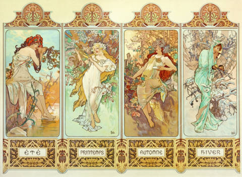 The Four Seasons of artist Alfons Maria Mucha as framed image