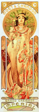 Fine Art Reproduction, individual art card: Alfons Maria Mucha, Moet & Chandon / Dry Imperial
