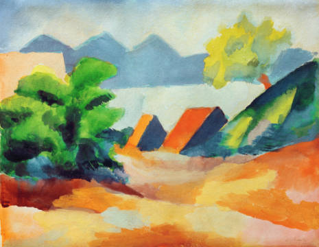 Fine Art Reproduction, individual art card: August Macke, Beside the lake I