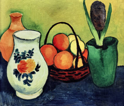 White jug with blue fruits of artist August Macke as framed image