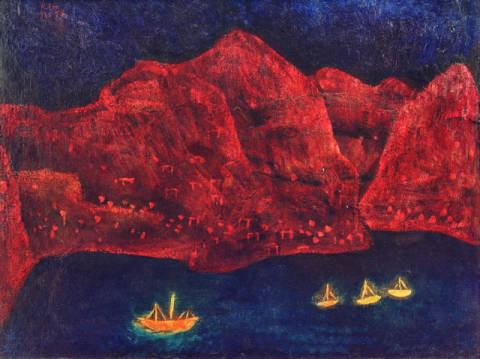 Fine Art Reproduction, individual art card: Paul Klee, South coast in the evening