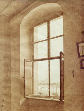 View from the studio of the artist (left window) of artist Caspar David Friedrich as framed image