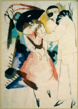 Pierrot and lady of artist August Macke as framed image