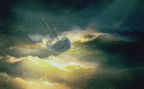 Fine Art Reproduction, individual art card: Iwan Konstantinowitsch Aiwasowski, The Ship 'Maria' during Storm