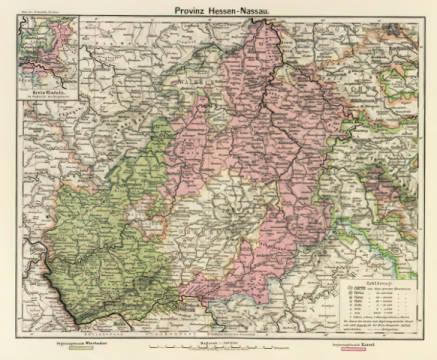 Henry Lange Hessen Nassau Landkarte 1902 Art Print Canvas On
