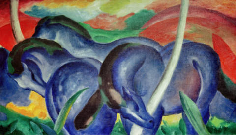Large blue Horses of artist Franz Marc as framed image