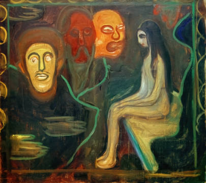 Girl and Three Male Heads of artist Edvard Munch as framed image
