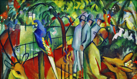 Zoological garden I of artist August Macke as framed image