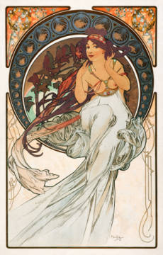 Music of artist Alfons Maria Mucha as framed image