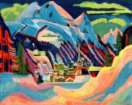 Fine Art Reproduction, individual art card: Ernst-Ludwig Kirchner, Davos in Snow