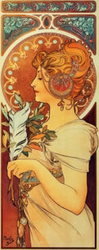 Fine Art Reproduction, individual art card: Alfons Maria Mucha, Feather