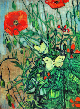 Butterflies and Poppies of artist Vincent van Gogh as framed image