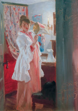 Interior with the Artist's Wife, 1889 of artist Peter Severin Kr�yer as framed image