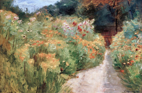 Fine Art Reproduction, individual art card: Max Liebermann, Blumenstauden im Wannseegarten