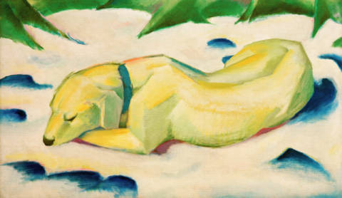 Lying dog in the snow of artist Franz Marc as framed image