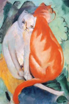 Fine Art Reproduction, individual art card: Franz Marc, Cats, red and white