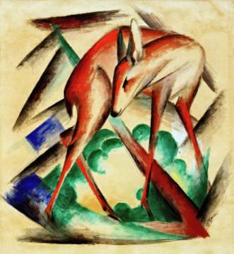 Franz Marc Deer Red Deer Art Print Canvas On Stretcher Framed Picture