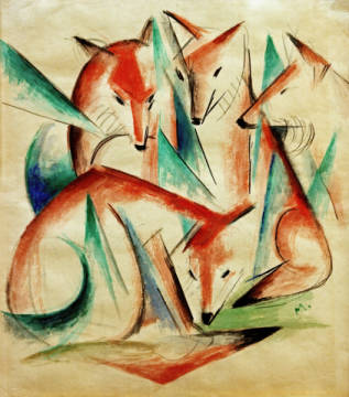 Fine Art Reproduction, individual art card: Franz Marc, Four Foxes