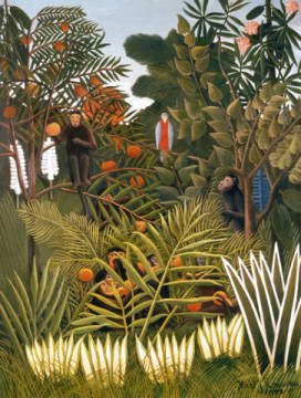 Exotic Landscape with monkeys and a parrot of artist Henri J.F. Rousseau as framed image