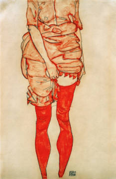 Woman in red, standing of artist Egon Schiele as framed image