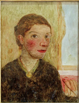 Fine Art Reproduction: Paula Modersohn-Becker, Self-portrait. Half-length portrait with brush in his raised hand