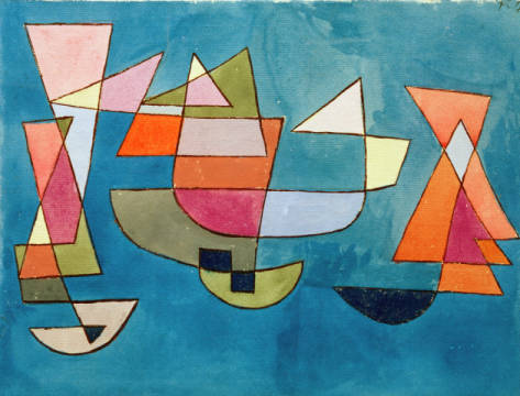 Fine Art Reproduction, individual art card: Paul Klee, Sailing Boats