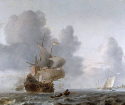 Warships and smaller ships in a breeze of artist Willem van de Velde as framed image