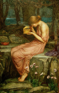Psyche Opening the Golden Box of artist John William Waterhouse as framed image
