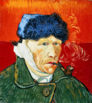 Vincent van Gogh - Selfportrait with fur hat, bandaged ear and tobacco pipe