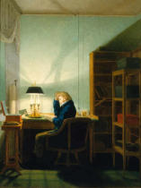 Georg Friedrich Kersting - Man reading by Lamplight