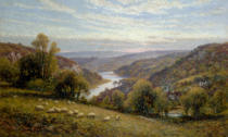 Alfred Augustus Glendening - River Landscape with Sheep Herds