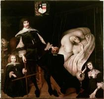 17. Jahrhundert - Sir Thomas Aston, Bart., of Aston with his son, at the deathbed of his wife