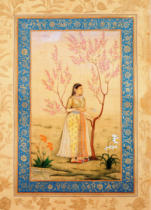 Indische Miniatur - Young Woman under a Tree / Indian min.
