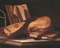 Evaristo Baschenis - Still life with musical instruments and books