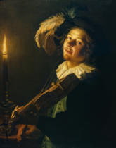 Gerard van Honthorst - Man playing the violin by candlelight