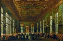 Francesco Guardi - Gala dinner in the Sala del Maggior Consiglio i.t. Doge's palace in Venice
