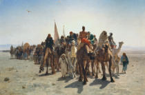Leon-Auguste-Adolphe Belly - Pilgrims caravan on the way to Mecca