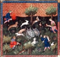 Buchmalerei - Hare hunt / French illumination, c.1400