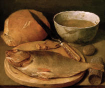 Georg Flegel - Still Life with Fish and Bread Rolls