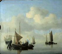 Willem van de Velde - Calm sea with sailing boats
