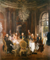 Adolph Friedrich Erdmann von Menzel - King Frederick II entertainig guests at Sanssouci