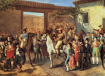 Manuel Castellano - Courtyard with horses in Plaza de Toros in Madrid before a bullfight
