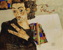 Egon Schiele - Selfportrait with spread fingers