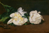Edouard Manet - A twig of white peonies with pruning shears