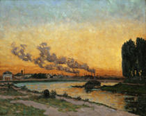 Jean-Baptiste-Armand Guillaumin - Soleil couchant a Ivry