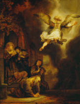 Harmensz van Rijn Rembrandt - The angel leaves Tobias and his family