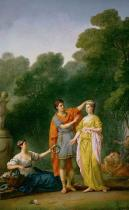 Joseph-Marie Vien - Greek youth crowning his beloved with flowers