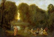 Jean Antoine Watteau - Group of people in a parc